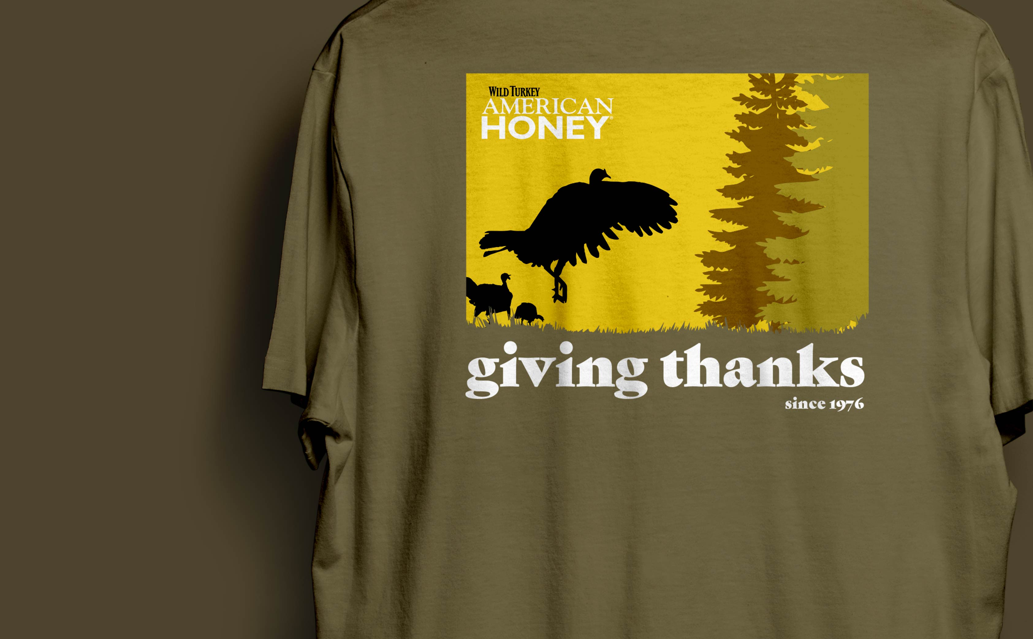 """Thanksgiving T-Shirt Design for Wild Turkey American Honey. A rustic design with vintage feel to reflect the brand's heritage and connection to the outdoors."""