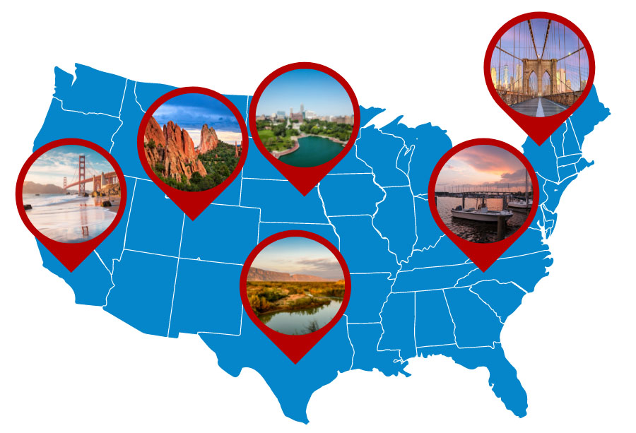 Map of the United States with location pins & landscape images.