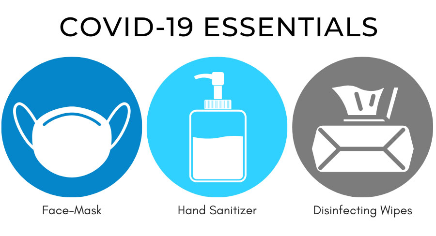 Circular icons with a face mask, hand sanitizer & wipes.