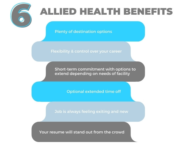Infographic with list of 6 allied health benefits in a chart-format.