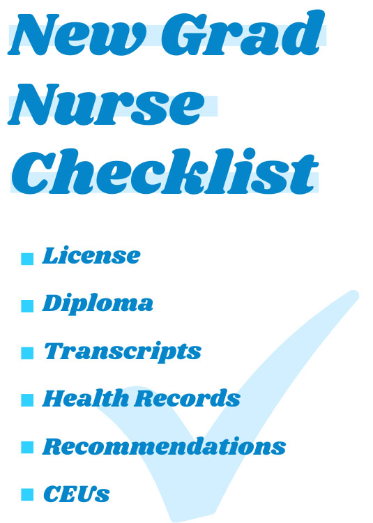 New grad nurse checklist with a list of things you need.