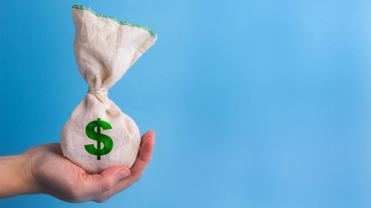Blue background with a hand holding a bag of money with a dollar sign on the front.