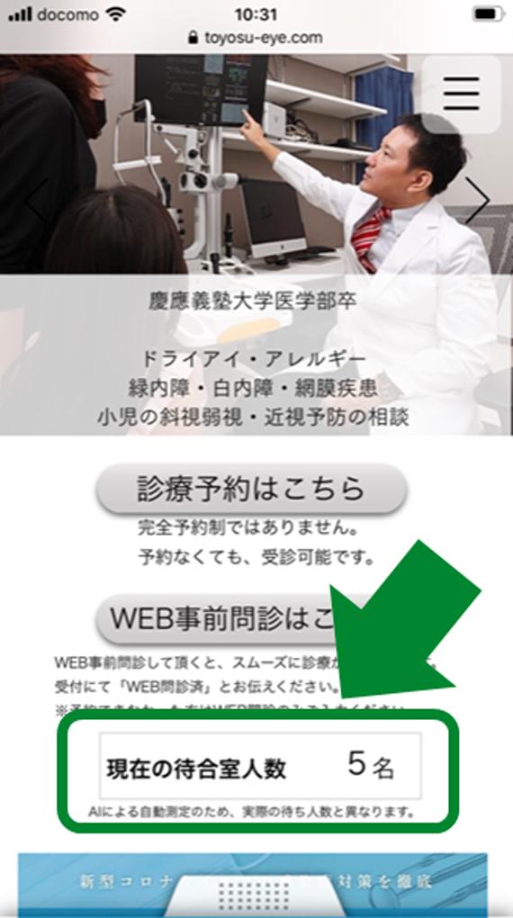 ウェブサイトへ表示される待合室人数