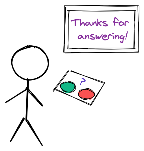 Illustration of a person with a choice of two buttons to push and a visual display