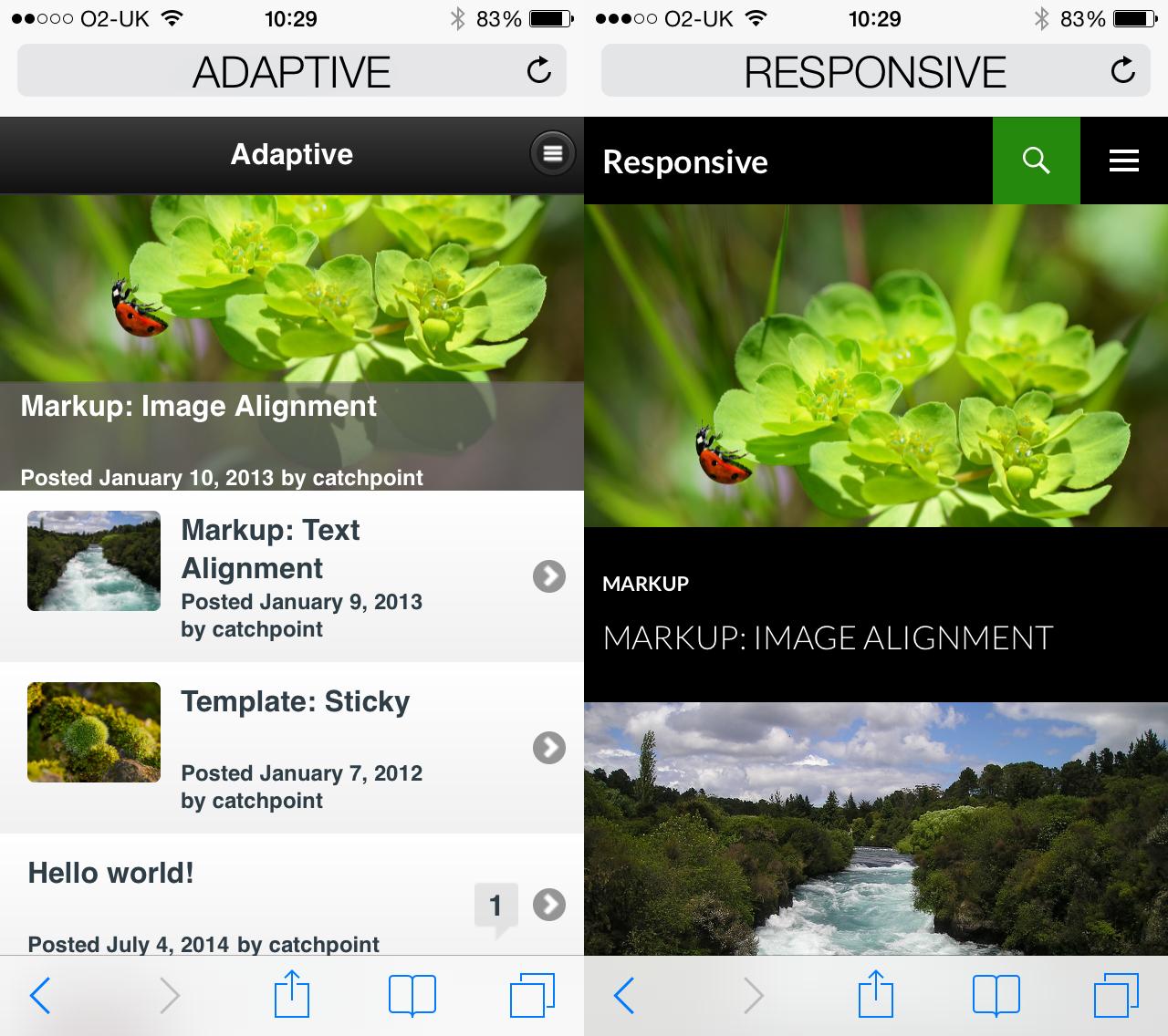 Adaptive Responsive on mobile