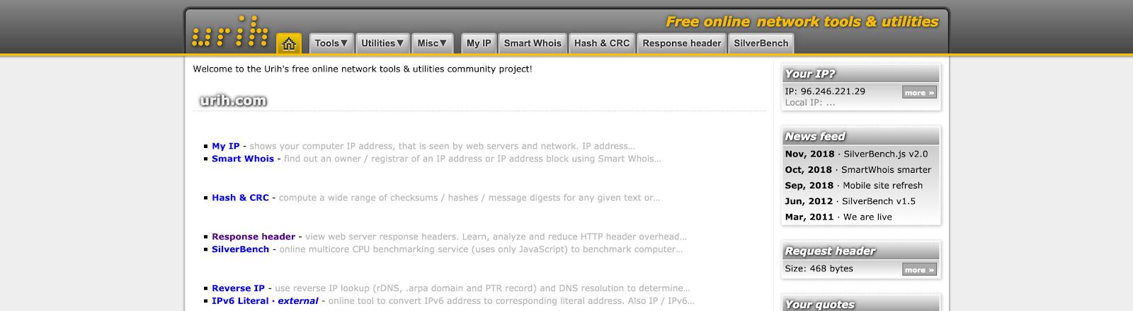 Screenshot of Urih's landing page