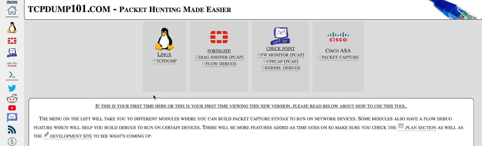 Screenshot of TCPDump 101's landing page