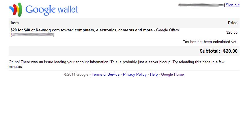 Google Newegg.com Offer Failure