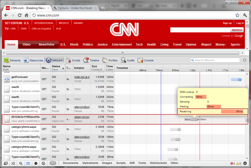 Redirects on CNN With Slow Receive Time on Chrome 16