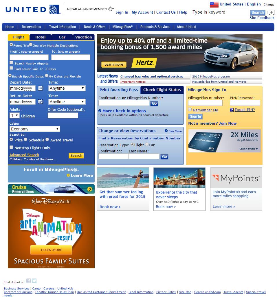 UnitedAirlines homepage