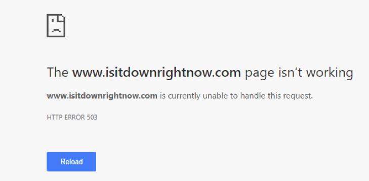 IsItDownRightNow.com error message