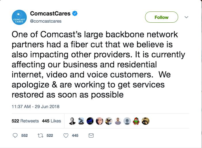Tweet from ComcastCares