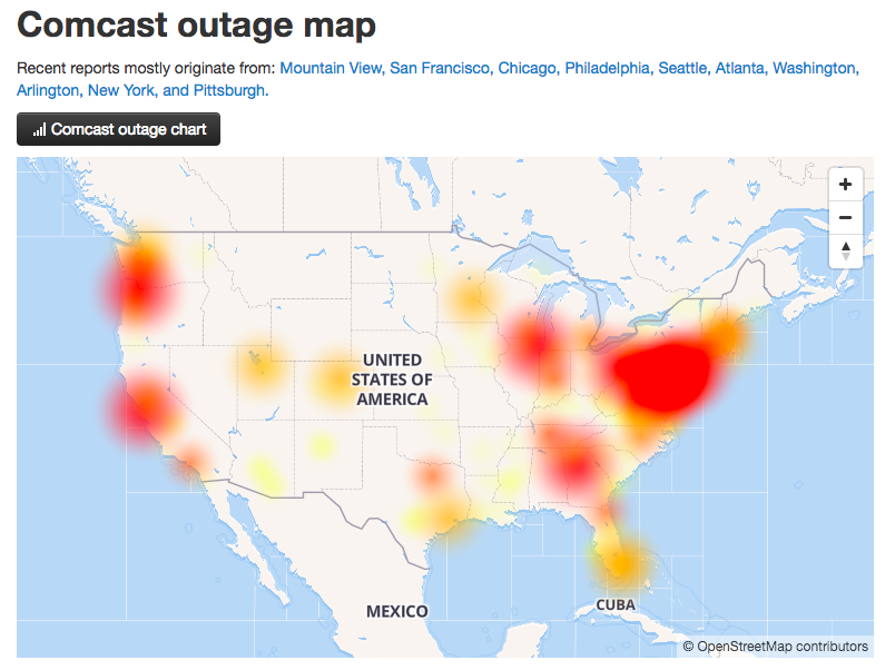 Comcast outage map from DownDetector
