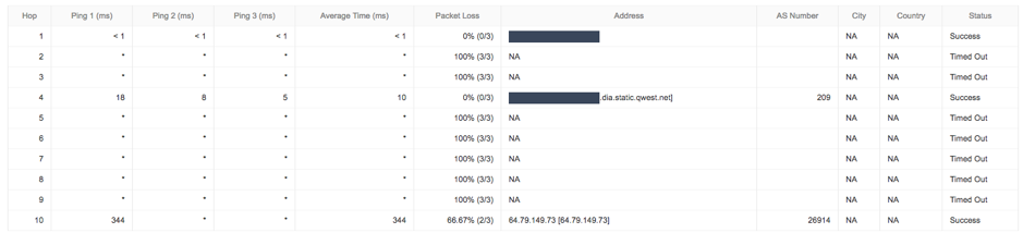 centurylink outage traceroute example 2