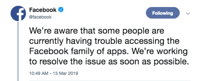 """Tweet from Facebook saying """"We're aware that some people are currently having trouble accessing the Facebook family of apps. We're working to resolve the issue as soon as possible."""""""