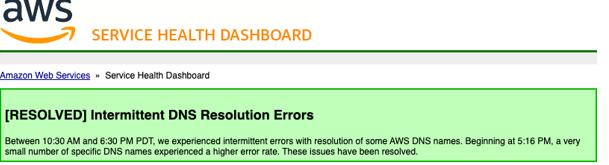 AWS DDoS Attacks resolution announcement