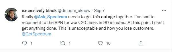 Tweet from work from home business person complaining about AWS outage