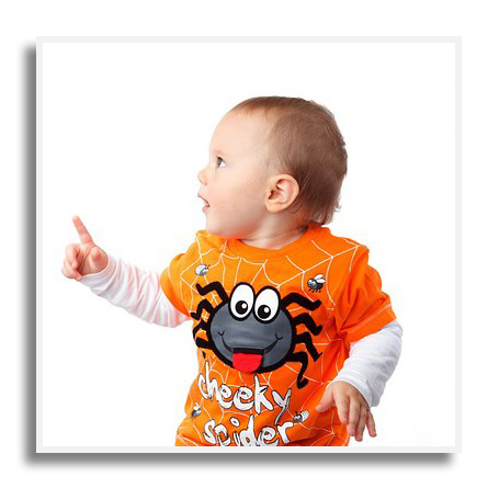 Baby in Halloween shirt