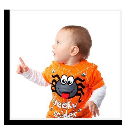 Baby in Halloween shirt