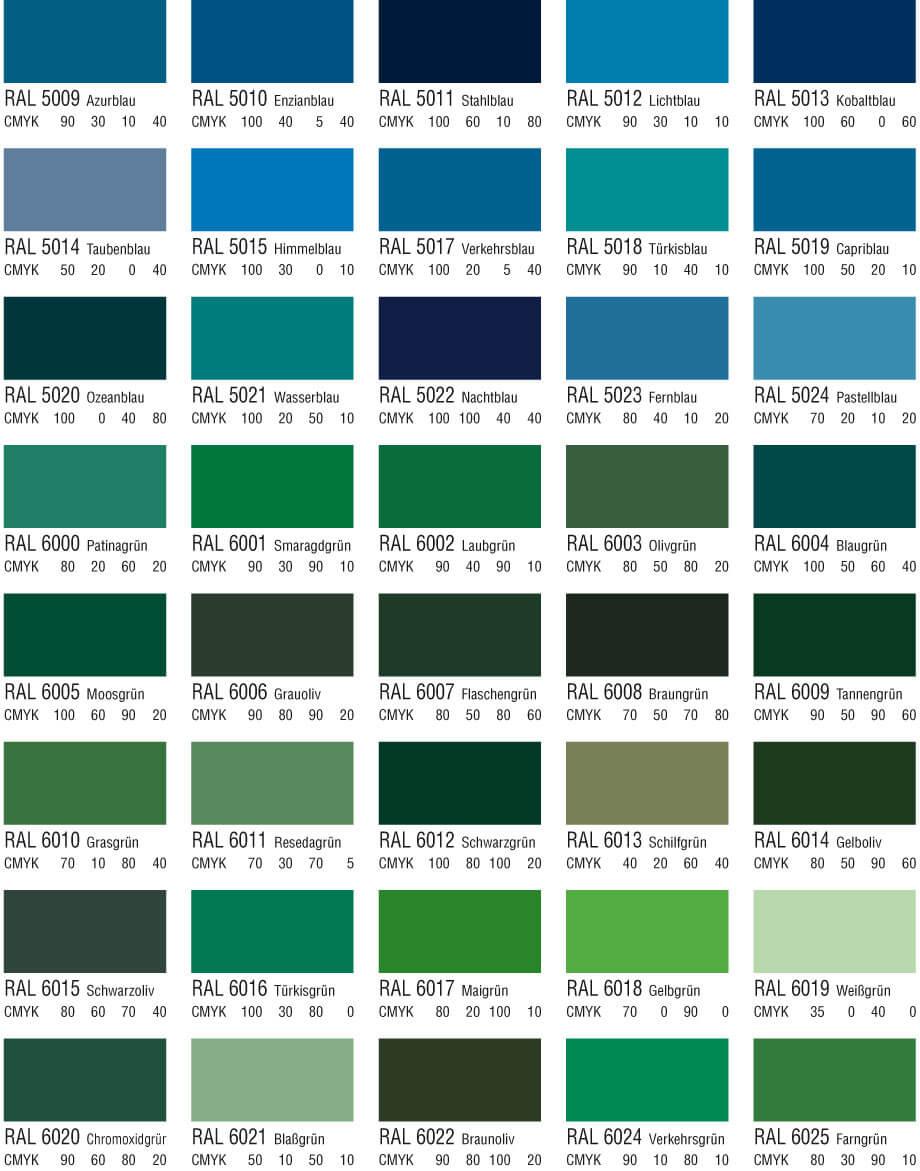 RAL Farbtabelle Blau und Grüntöne