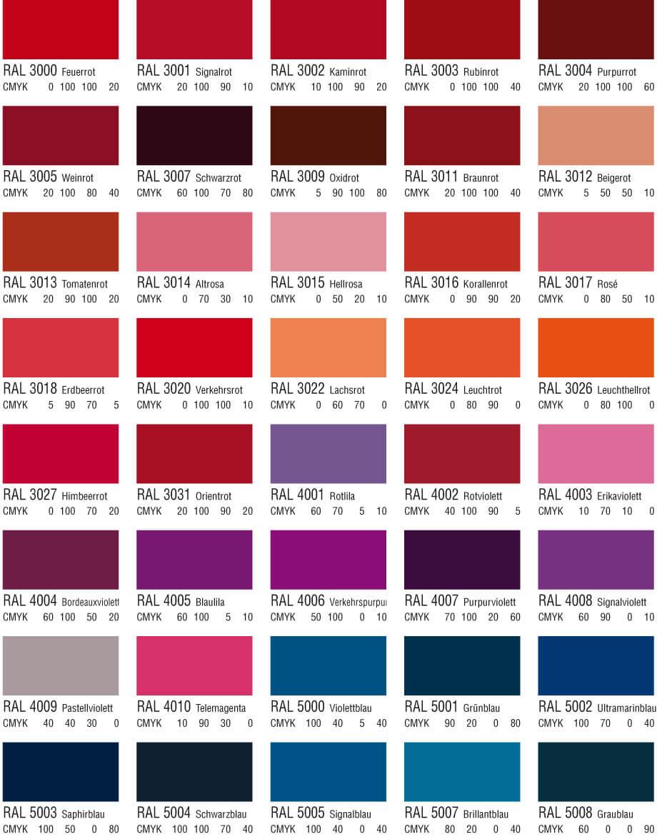 RAL Farbtabelle Rot Pink und Lilatöne