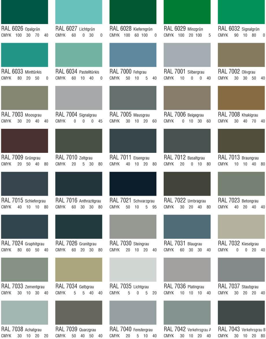 RAL Farbtabelle Braun und Grautöne