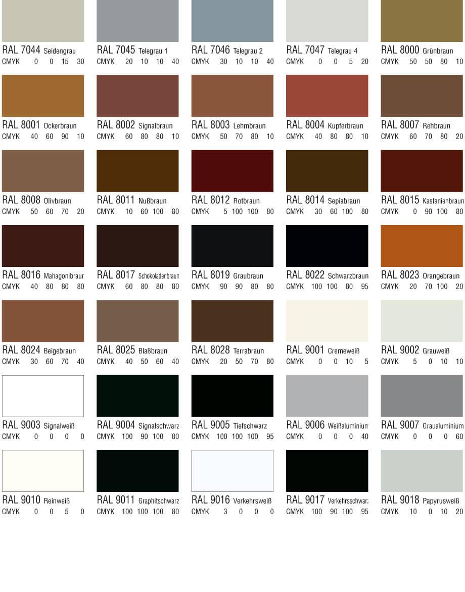 RAL Farbtabelle Braun Weiß und Schwarztöne