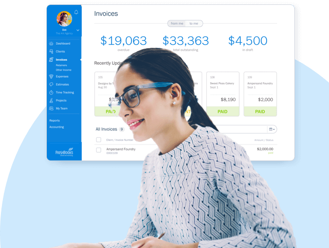 image of female working at her desk with blowup of screen depicting freshbook accounting software
