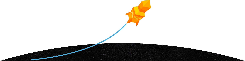 fusée carrée animée en orange lancée dans l'espace