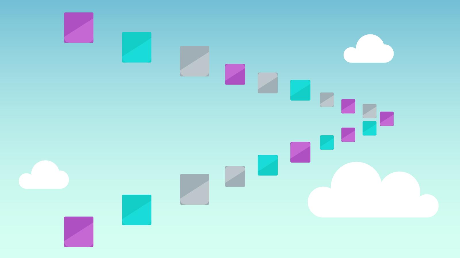 image représentant plusieurs appareils travaillant dans le nuage