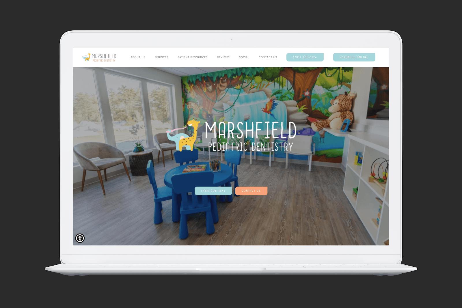 Marshfield Pediatric Dentistry homepage screengrab
