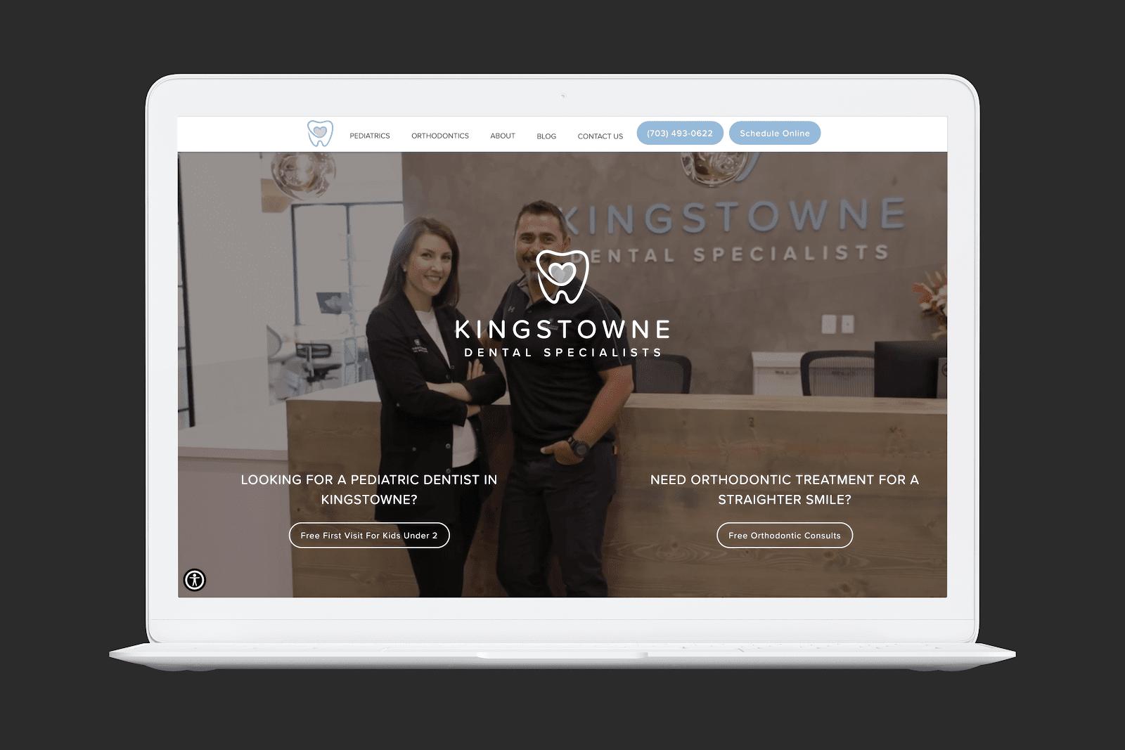 Kingstowne Dental Specialists Homepage Screengrab