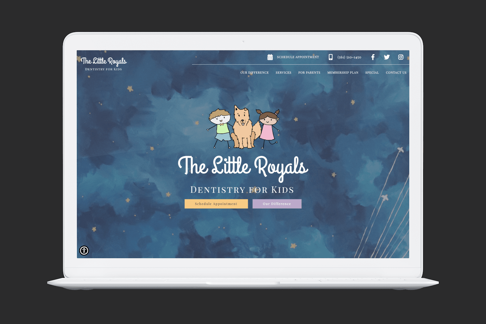 The Little Royals Dentistry for Kids Homepage Screengrab