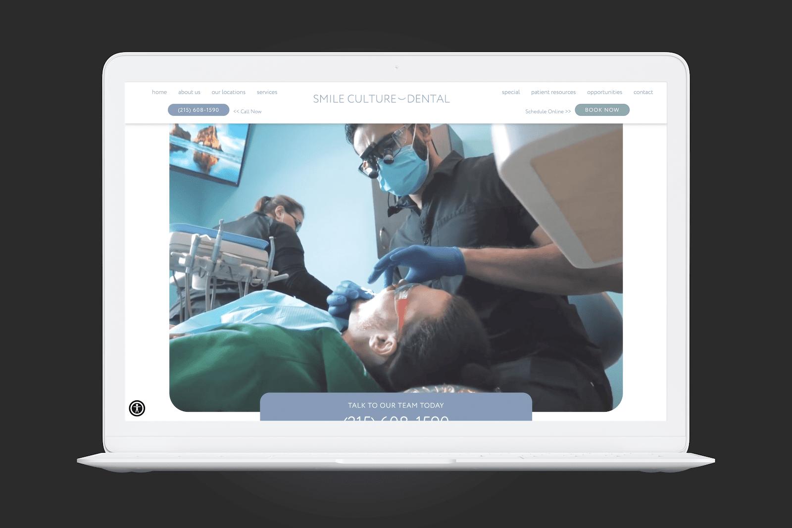 Smile Culture Dental Homepage Screengrab