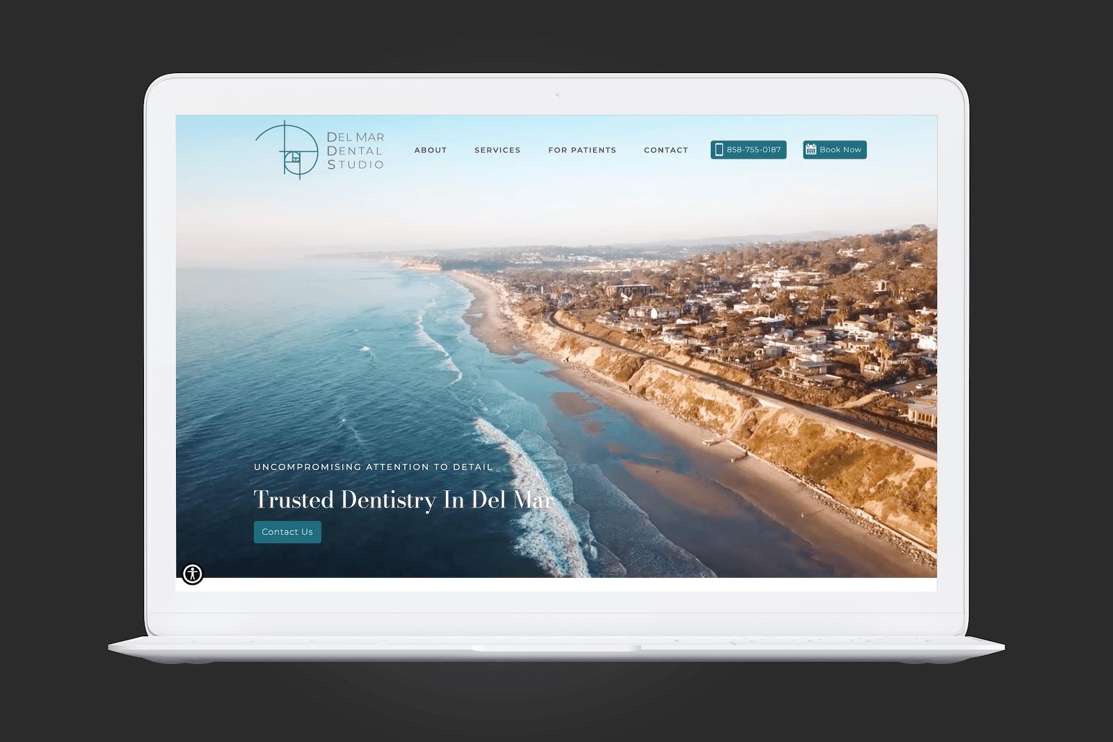 Del Mar Dental Studio homepage screengrab