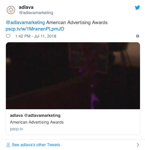 adlava live tweet from 2018 Addy Awards