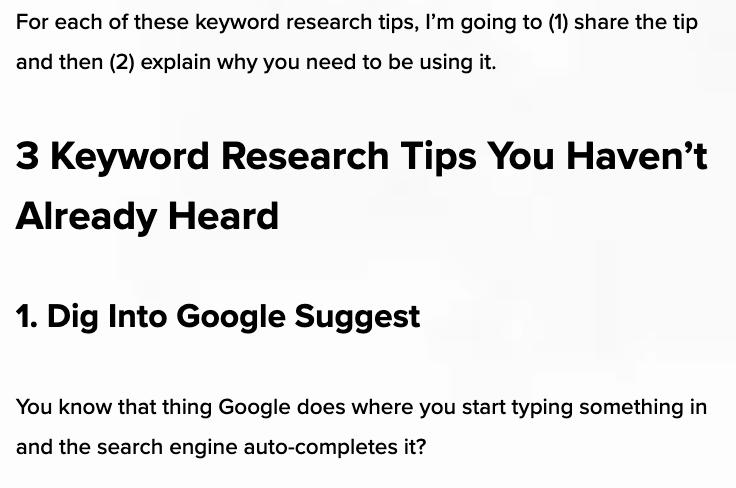 screenshot of keyword research tips blog