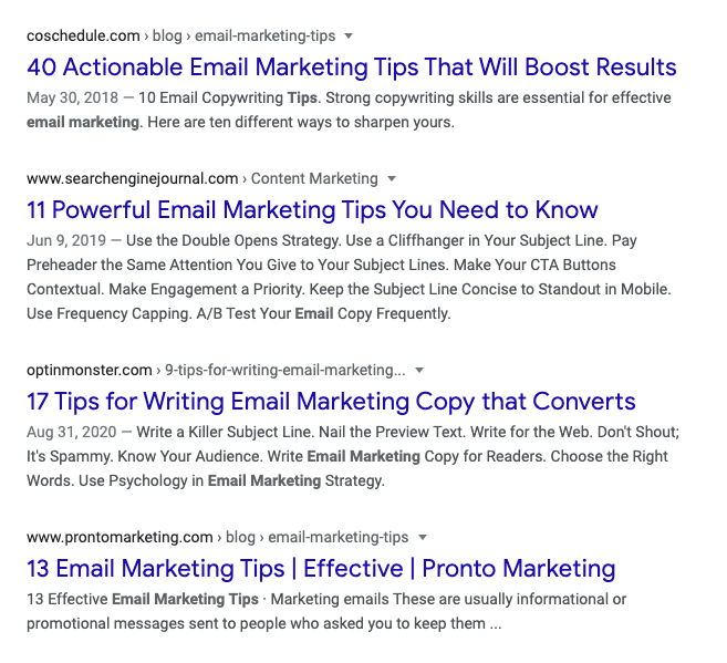 email marketing tips search results in google