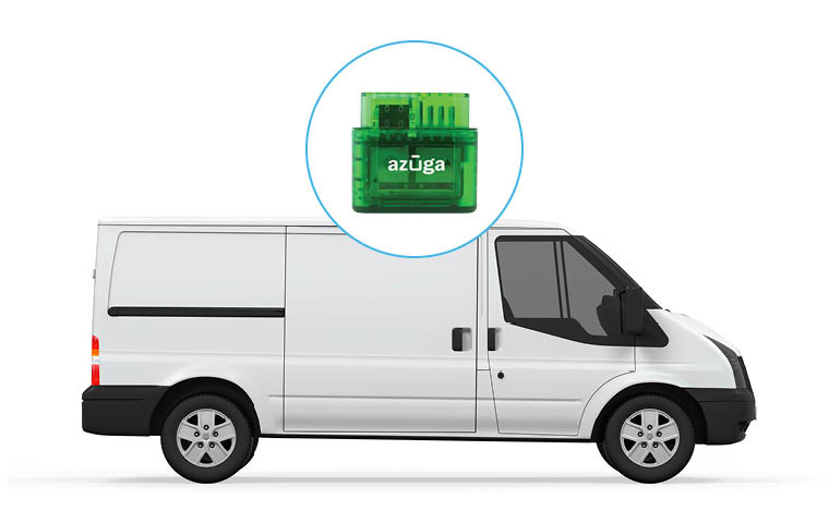 White cargo van with green Azuga Tracker highlighted