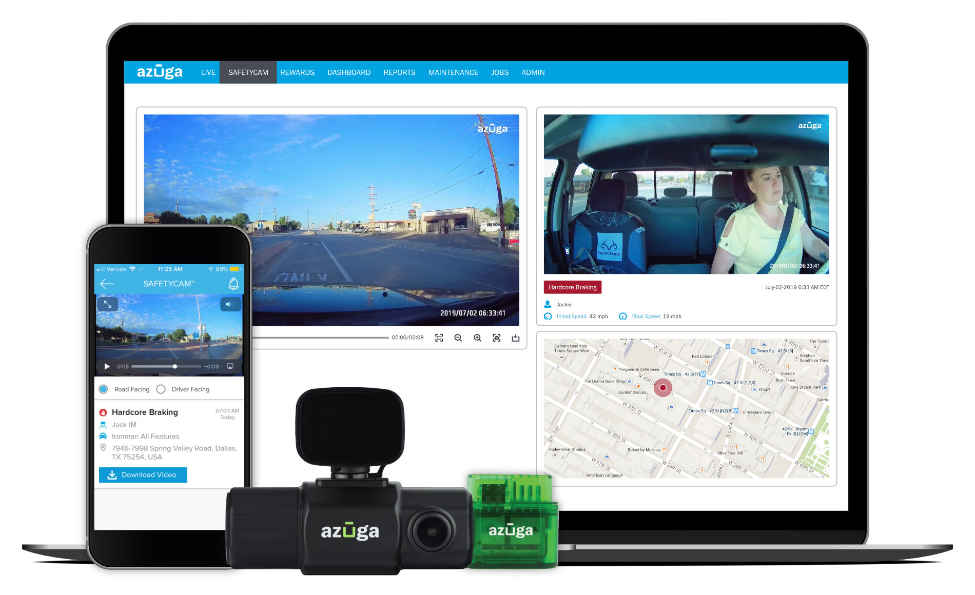 Laptop with Azuga Fleet software on screen, phone with FleetMoble on screen, SafetyCam dashcam, and green Azuga GPS tracker