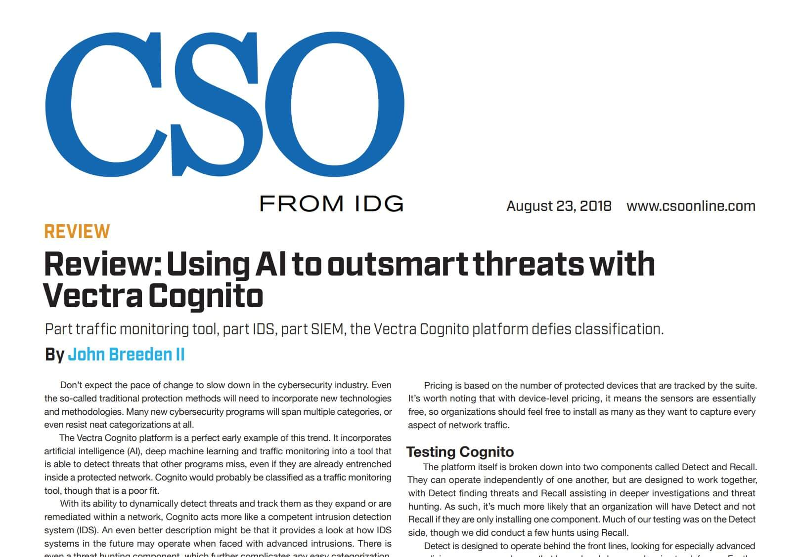 Image of first page of CSO Review: Using AI to outsmart threats with Vectra Cognito