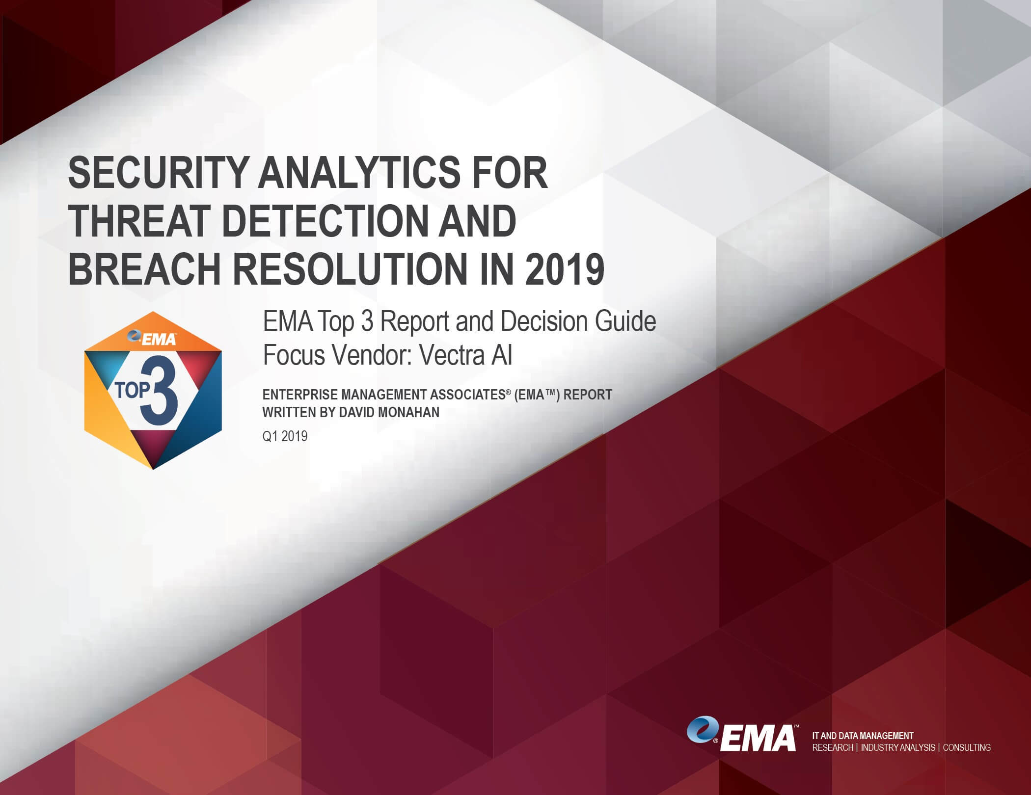 Images of first page of EMA Research: 2019 Top 3 security analytics vendor decision guide
