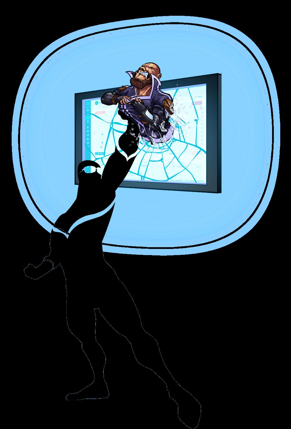 Cognito holding attacker smashing through TV screen
