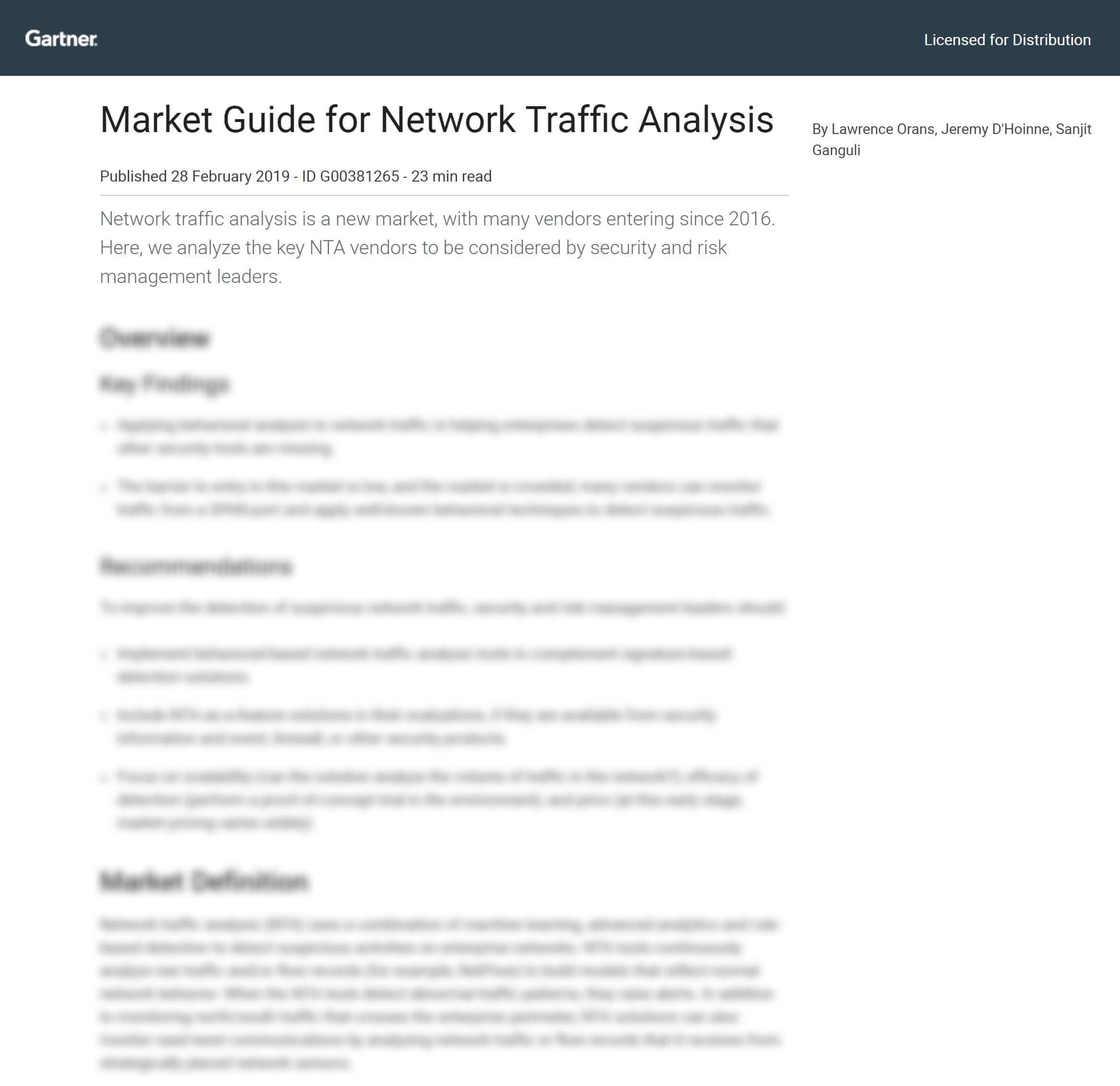 Gartner Market Guide for NTA 2019