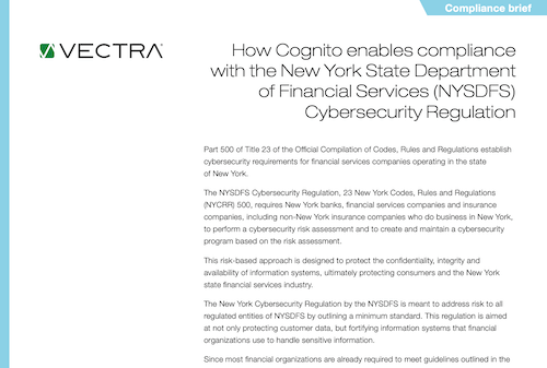 Vectra Compliance Briefs - New York State Department of