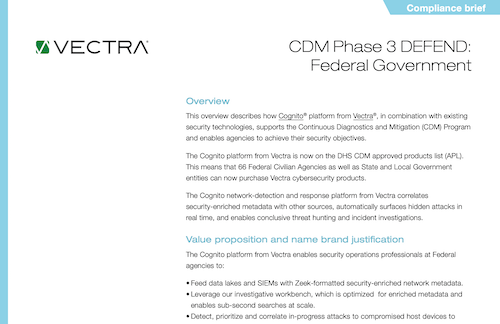 Vectra Compliance Briefs - Adaptive Security Architecture
