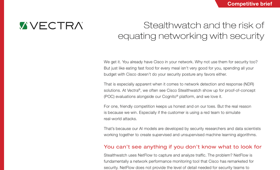 Vectra Industry research - 451 Research: Network traffic