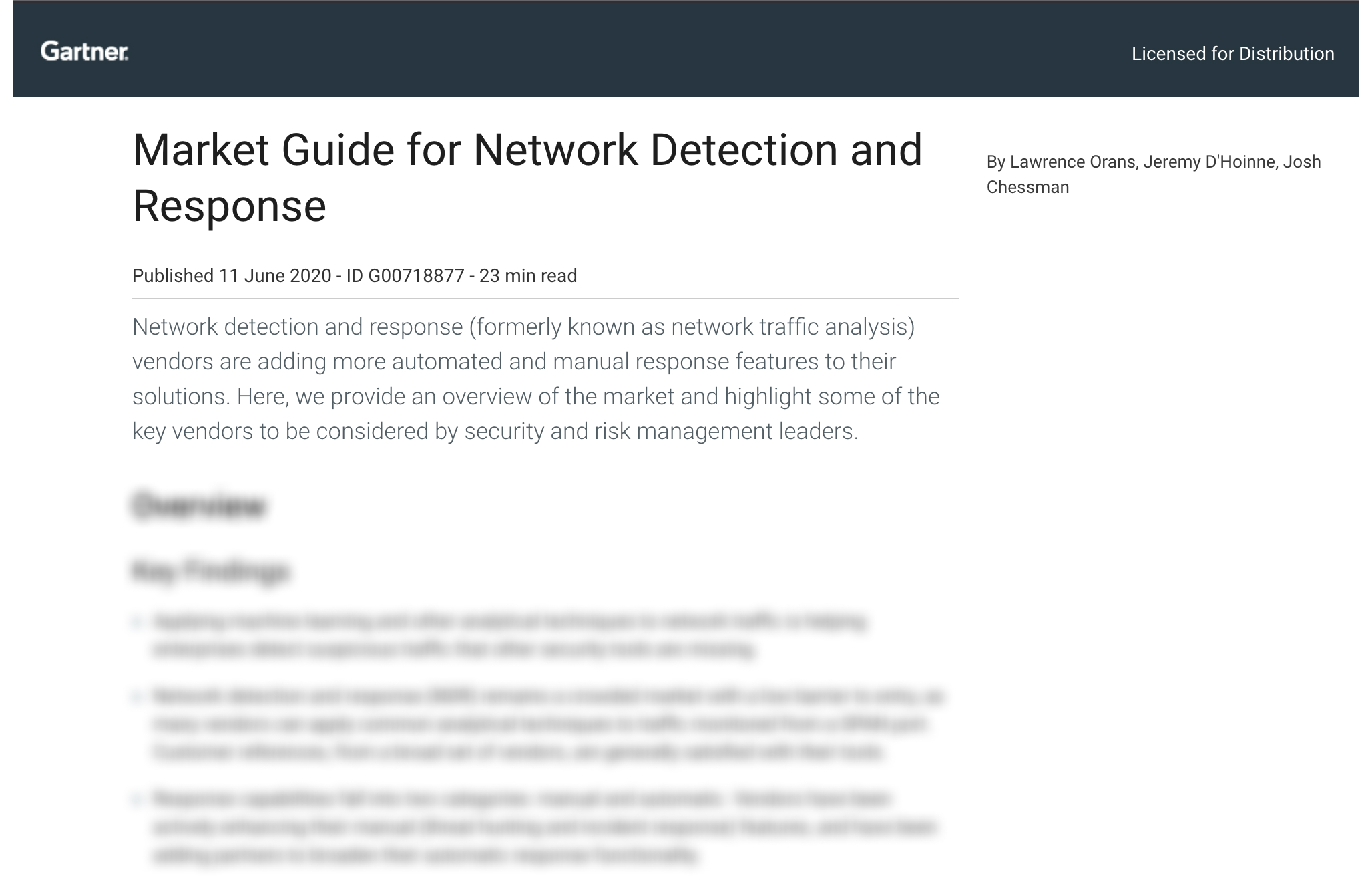 Gartner Market Guide for Network Detection and Response (NDR) 2020