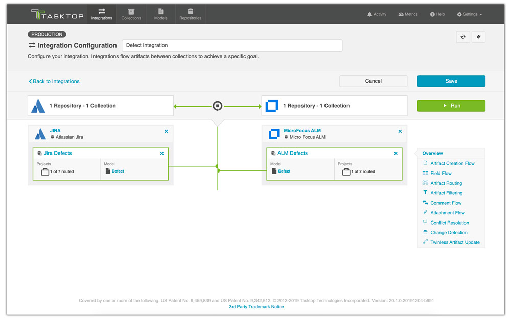 tasktop integration configuration screenshot