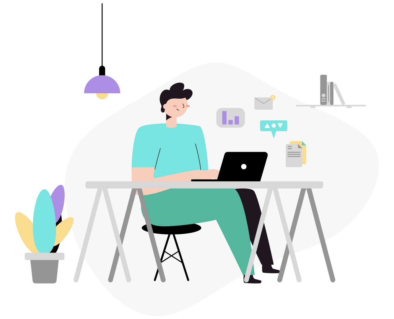 illustration of a man working at a desk